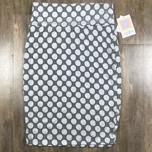 NWT Cassie Lularoe skirt gray with white circles